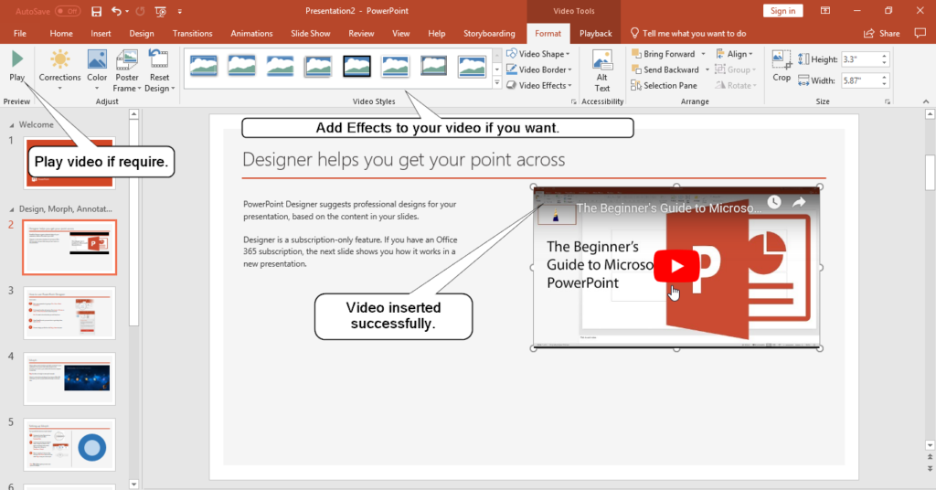 how to embed a youtube video in powerpoint 2019